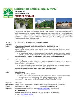 GOTICKÁ CESTA III. - Spoločnosť pre záhradnú a krajinnú tvorbu