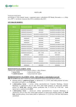Organizácia práce v pobočkách av ústredí OTP Banky Slovensko, as