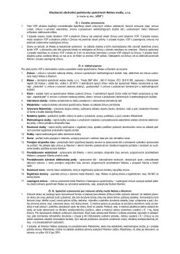 Všeobecné obchodné podmienky spoločnosti Webex media, s.r.o. (v