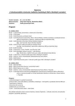 Zápisnica z Celoslovenského stretnutia riaditeľov katolíckych škôl a