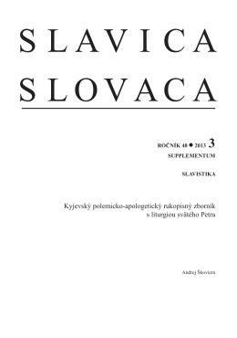 Slavica Slovaca, roč. 48, 2013, č - Slavistický ústav Jána Stanislava