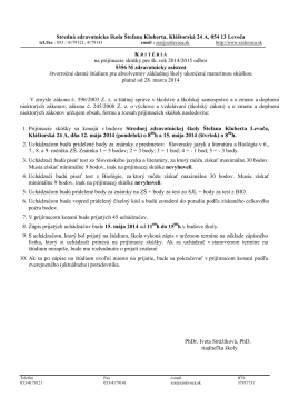 Kritériá na prijímacie skúšky pre šk. rok 2014/2015 odbor 5356 M