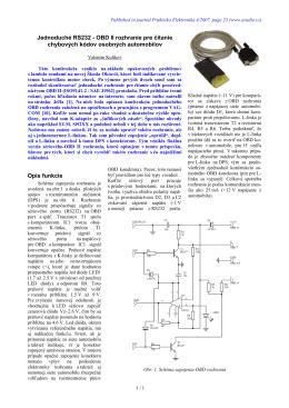 OBD II rozhranie pre čítanie chybových kódov osobných automobilov