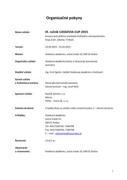 IX. ročník CASSOVIA CUP 2015 - Hotelová akadémia, Južná trieda