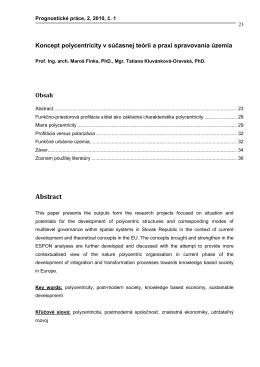 Koncept polycentricity v súčasnej teórii a praxi spravovania územia