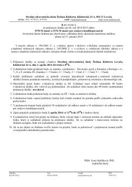 Kritériá na prijímacie skúšky pre šk. rok 2014/2015 odbor 5370 M