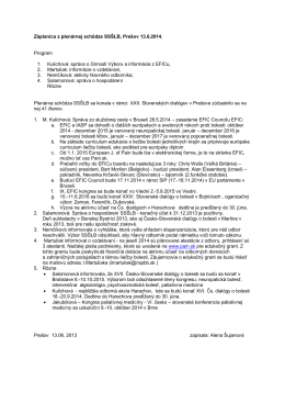 Zápisnica z plenárnej schôdze SSŠLB, Prešov 13.6.2014. Program