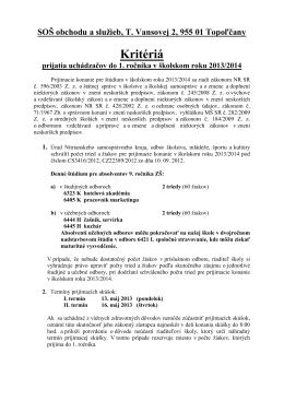 SOŠ obchodu a služieb, T. Vansovej 2, 955 01 Topoľčany Kritériá