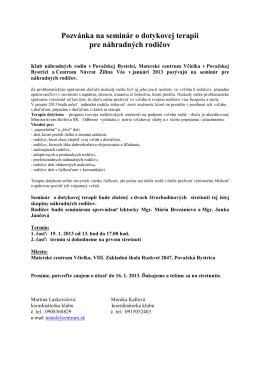 Pozvánka na seminár o dotykovej terapii pre náhradných rodičov