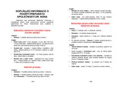 doplňující informace o použití preparátu společnosti dr. nona