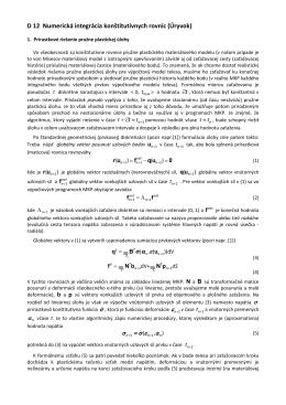 D12. Numerická integrácia konštitutívnych rovníc. Prírastkové