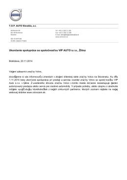 Ukončenie spolupráce so spoločnosťou VIP Auto s.r.o.