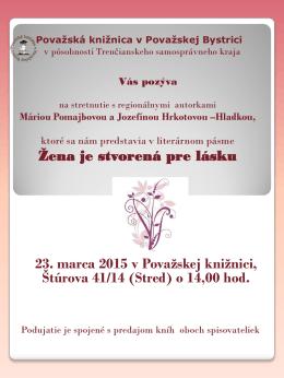 plagát Maria Pomajbová.pdf - Považská knižnica v Považskej Bystrici