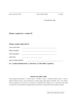 Žiadosť o prijatie do 1. ročníka ZŠ - Základná škola sv. Don Bosca v