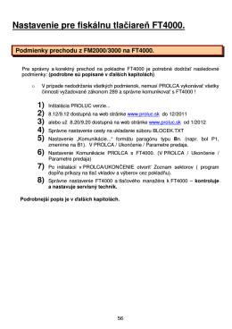 Nastavenie pre fiskálnu tlačiareň FT4000.