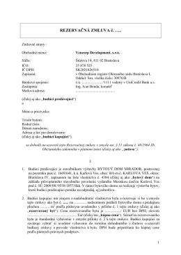 REZERVAČNÁ ZMLUVA č. …..