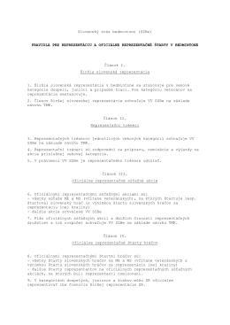 Pravidlá pre reprezentáciu a oficiálne reprezentačné štarty v