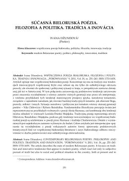 súčasná bieloruská poézia. filozofia a politika. tradícia a inovácia