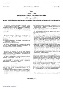 369/2010 Vyhláška Ministerstva financií Slovenskej republiky, ktorou