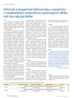 Účinnosť a bezpečnosť ipilimumabu u pacientov s metastatickým