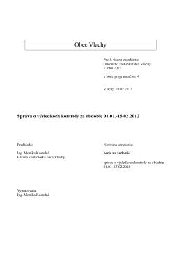 Správa o výsledkoch kontroly za obdobie 01.01.