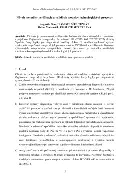 Návrh metodiky verifikácie a validácie modelov technologických