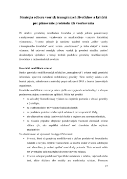 Stratégia odberu vzoriek transgénnych živočíchov a kritériá pre