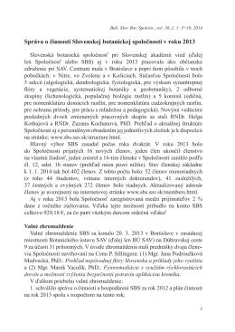 Správa o činnosti Slovenskej botanickej spoločnosti v roku 2013