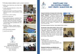 Centrum pomoci LPR v BA – informačný leták o aktivitách v Centre s