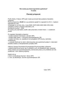 členský príspevok a upozornenie - Slovenská psychoterapeutická