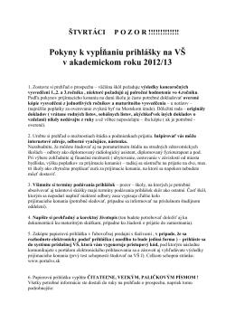 Pokyny k vypĺňaniu prihlášky na VŠ v akademickom roku 2012/13