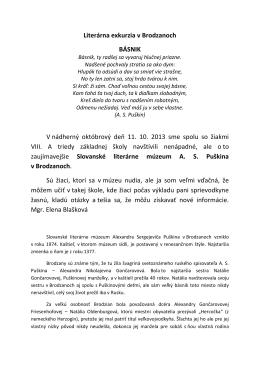 Literárna exkurzia v Brodzanoch BÁSNIK V nádherný októbrový deň