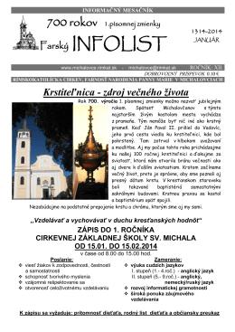 Infolist č. 1 - Rímskokatolícka farnosť Narodenia Panny Márie