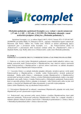 Obchodné podmienky spoločnosti Itcomplet, s.r.o. vydané v zmysle