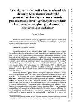 Igrici ako archaickí poeti a žreci u pohanských Slovanov. Kam