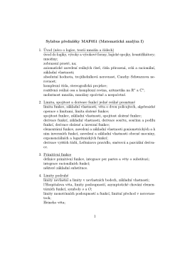 Sylabus prednášky MAF051 (Matematická analýza I) 1. ´Uvod (neco
