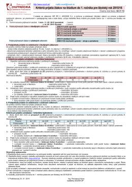 Kritériá prijatia žiakov na štúdium do 1. ročníka nešportových tried