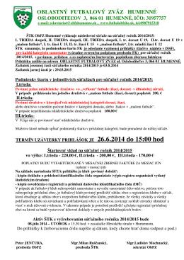Informácie a podmienky štartu - Oblastný futbalový zväz Humenné