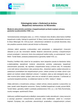 Onkologický ústav v Košiciach je druhou Bezpečnou nemocnicou na