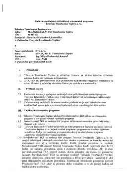Zmluva o spolupráci pri káblovej retransmisii programu Televízie