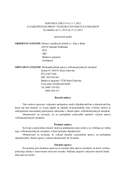 Servisná zmluva o zabezpečení opráv veľkokuchynských zariadení