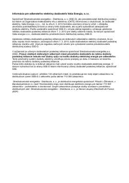 Informácia pre odberateľov elektriny dodávateľa Vaša Energia, s.r.o.