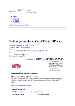 Vaša objednávka v ANDREA SHOP, s.r.o.