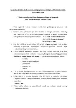 Vyhodnotenie činnosti koordinátora prevencie_DZ ŠZŠ s VJM 2011
