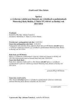 Správa o výsledkoch výchovno-vzdelávacej činnosti v MŠ Beluša za