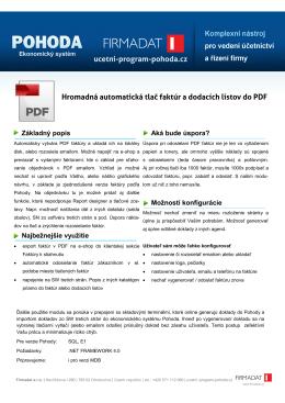 Hromadná automatická tlač faktúr a dodacích listov do PDF ucetni