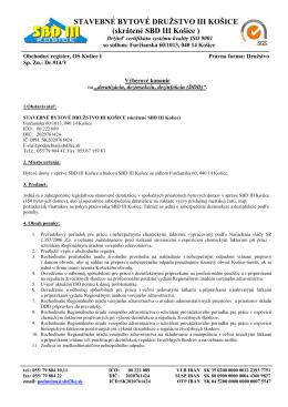 Výberové konanie na deratizáciu bytových domov v správe SBD III