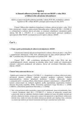 Správa o činnosti odborovej kontroly nad stavom BOZP v roku 2014