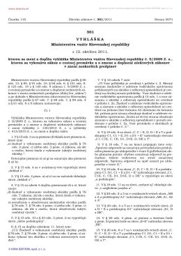 361/2011 Vyhláška Ministerstva vnútra Slovenskej republiky, ktorou