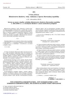 451/2012 Vyhláška Ministerstva školstva, vedy, výskumu a športu